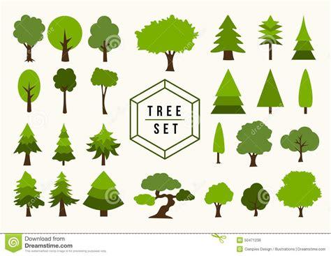 tree shapes eco icon tree illustration shapes set stock vector image