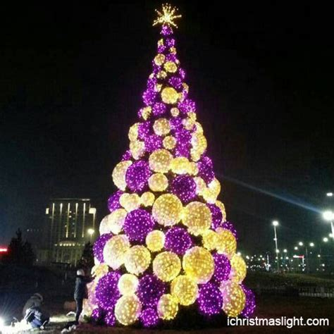 tree with big lights commercial white and purple tree
