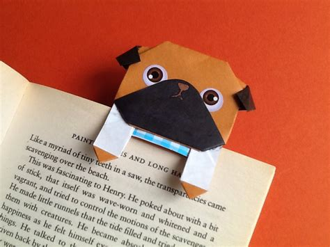 origami pug cool paper pug bookmark origami pug bookmark card by