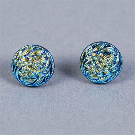 dichroic glass jewelry dichroic glass earrings blue leaf and vine