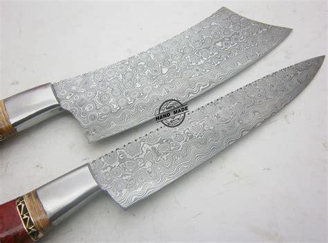 damascus kitchen knives lot of 2 pcs damascus kitchen knife custom handmade