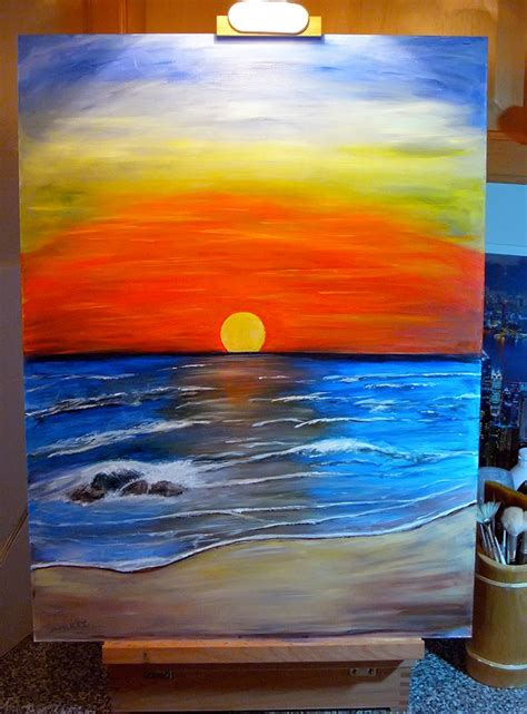 acrylic painting landscapes beginners sunset acrylic painting by dx on deviantart