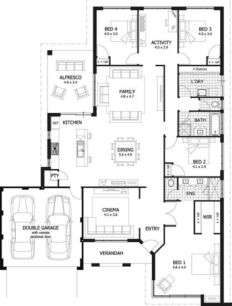 4 story house plans 4 bedroom single story house plans
