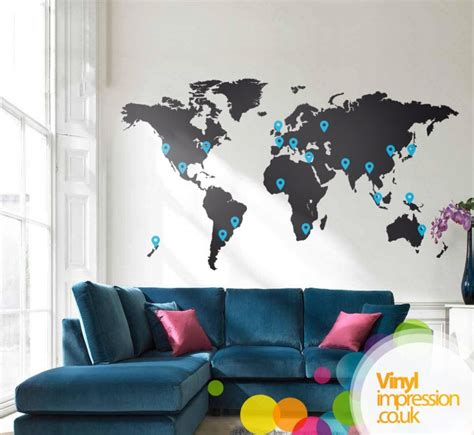 large world map wall sticker creatives across sussex media images vinylimpression