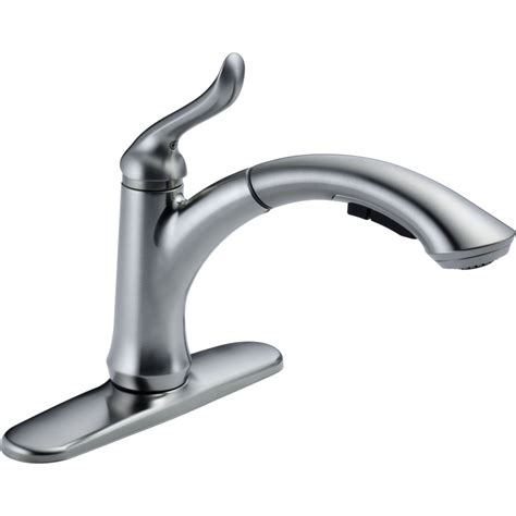 delta faucets for kitchen delta faucet 4353 ar dst linden arctic stainless pullout spray kitchen faucets efaucets