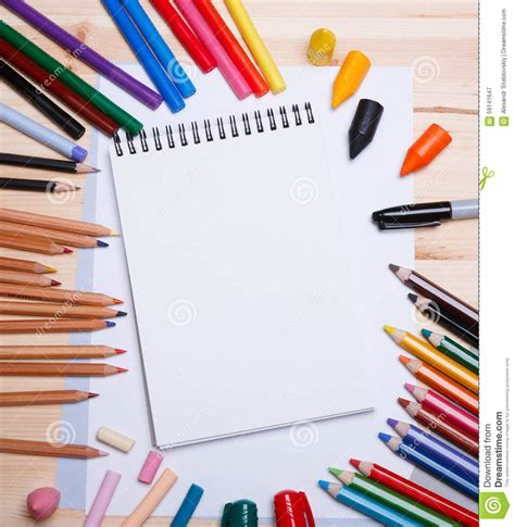 crafts with paper and markers drawing materials stock photo image 59141647