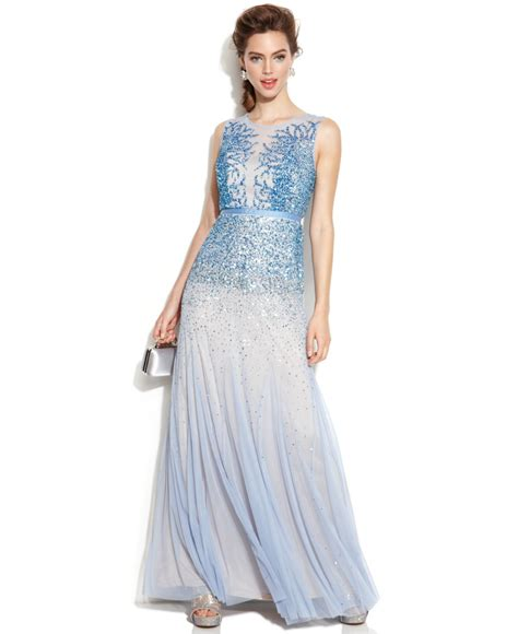 blue beaded gown papell sleeveless beaded illusion gown in blue lyst