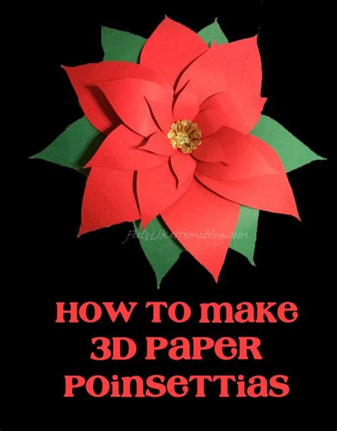 paper poinsettia craft how to make 3d paper poinsettias