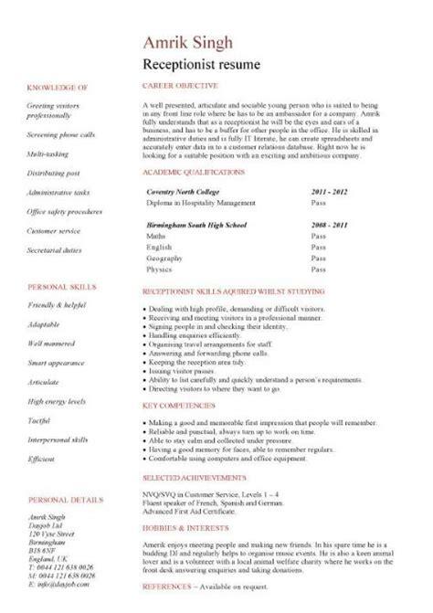 medical receptionist cv template job description resume