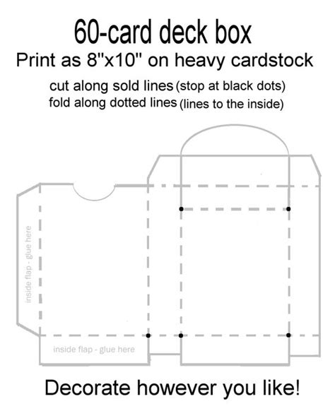 how to make a box out of card deck box card deck and box templates on