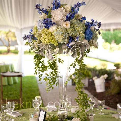 and white centerpieces white green and blue centerpieces