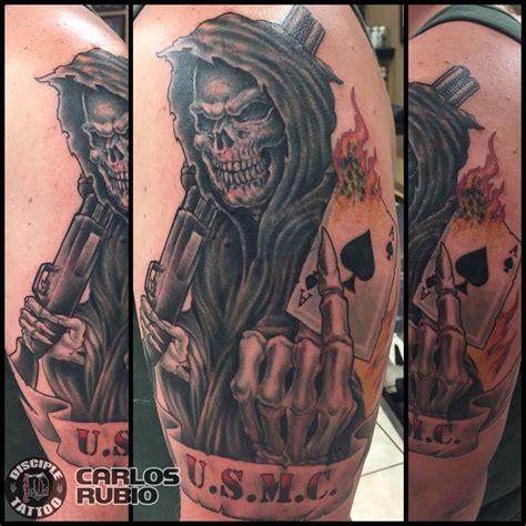 carlosrubio:angel of death full color tattoo reaper tattoo poker card shotgun disciple tattoo
