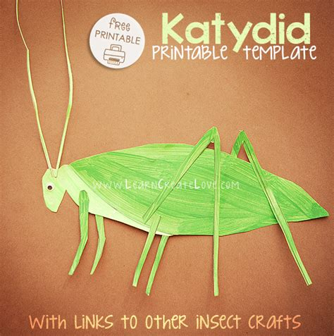 insect crafts for katydid printable craft