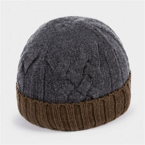 grey knit beanie paul smith s grey and brown cable knit beanie hat in
