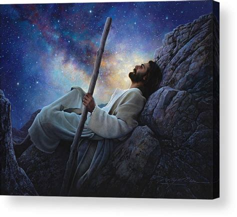 acrylic painting of jesus worlds without end acrylic print by greg