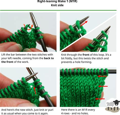 how to increase stitches in knitting increases make 1 left right knit side purl side with