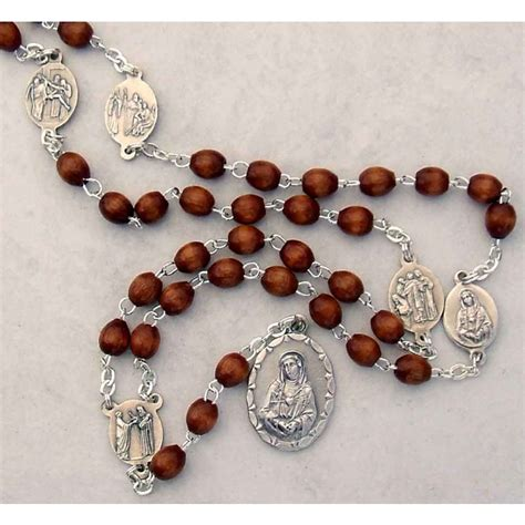 rosary with 7 seven sorrows rosary with brown wood