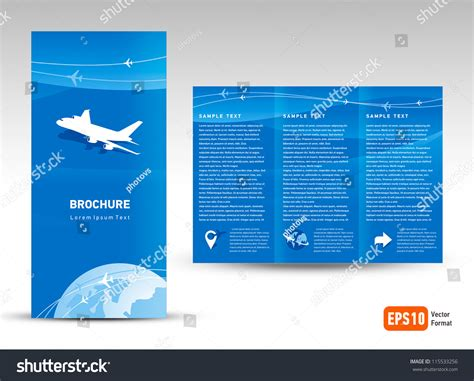 vector brochure trifold layout design template stock