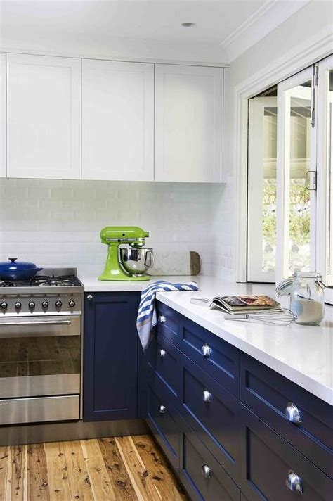 blue color kitchen cabinets white cabinets navy blue lower cabinets design ideas