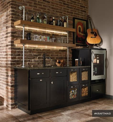 KraftMaid: Cherry Kitchen Bar Area with LED Lighting   Rustic   Home Bar   Detroit   by KraftMaid