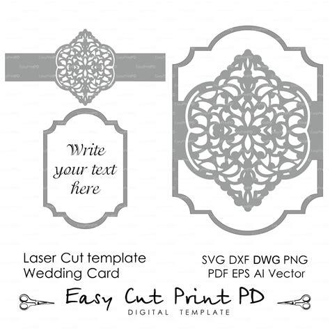 lace templates card wedding invitation eastern pattern card template