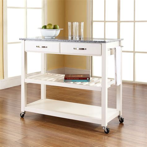 kitchen island cart solid granite top kitchen cart island with optional stool storage in white finish