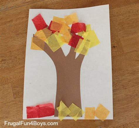 tissue paper tree craft preschool on handprint paper plates