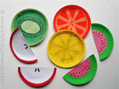 craft using paper plates paper plate fruit crafts by amanda