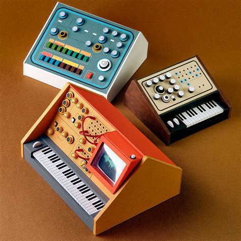 miniature paper craft miniature retro papercraft synthesizers by dan mcpharlin