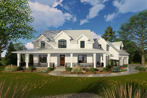 new farmhouse plans modern farmhouse with angled 3 car garage 62668dj 2nd floor master suite cad available