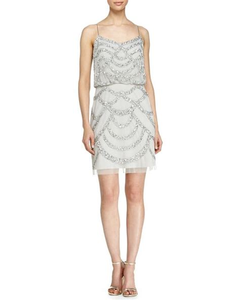 beaded silver dress aidan mattox beaded cocktail dress in silver lyst
