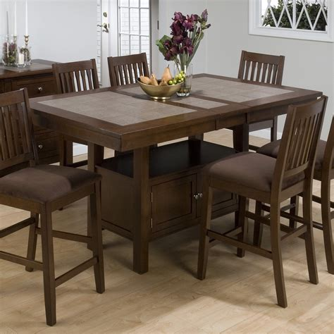 storage dining tables jofran trumbull tile top counter height storage dining