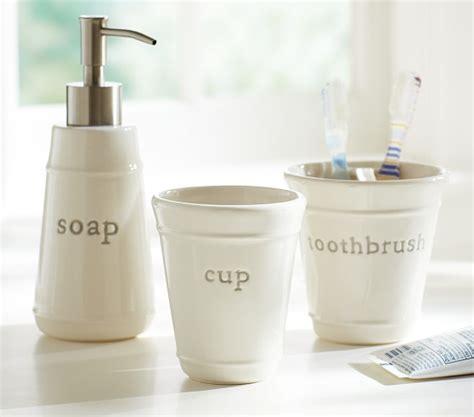 pottery bathroom accessories gray bath accessory set pottery barn