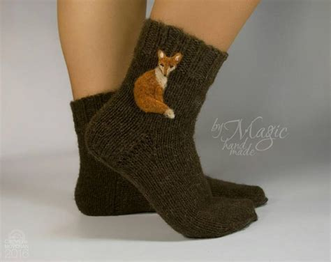how to felt knitting by knitted wool socks socks with fox needle felted fox
