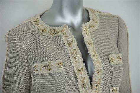 beaded fringe trim uk chanel luxe beige beaded fringe trim woven hemp linen