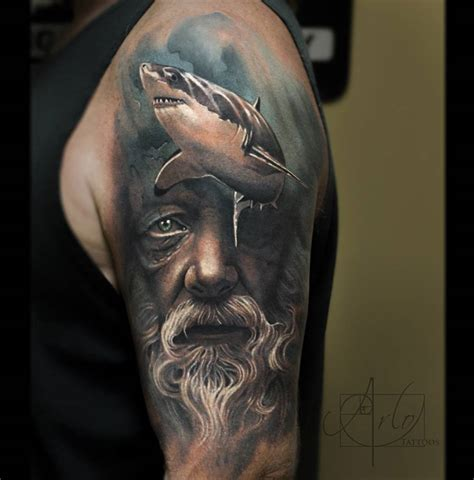 poseidon amp shark sleeve best tattoo design ideas