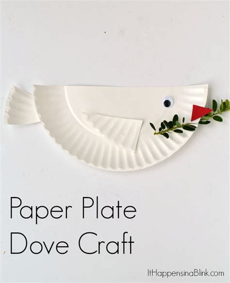 paper plate bible crafts dove paper plate