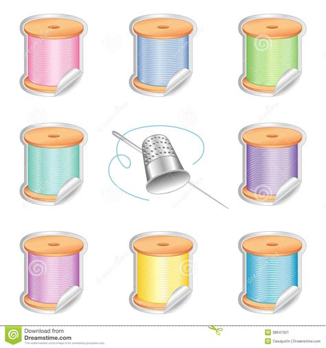 quilting crafts needle and pastel threads stickers silver thimble stock