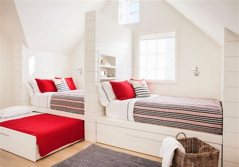 build bed sleepover room with built in beds with trundle beds