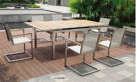modern stainless steel furniture stainless steel outdoor furniture teak wood table and mesh