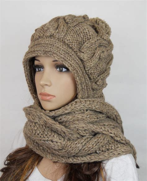 Handmade Knitted Crochet Hooded Scarf Hat Clothing