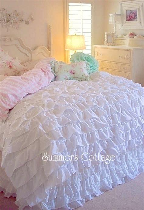 ruffled bedding sets cottage chic dreamy ruffles comforter set
