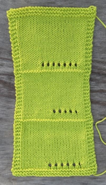 what size needles for knitting wool include eyelets in each swatch to remember what size