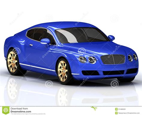 Blue Car Gold Wheels by Premium Blue Car With Gold Wheels Royalty Free Stock Image