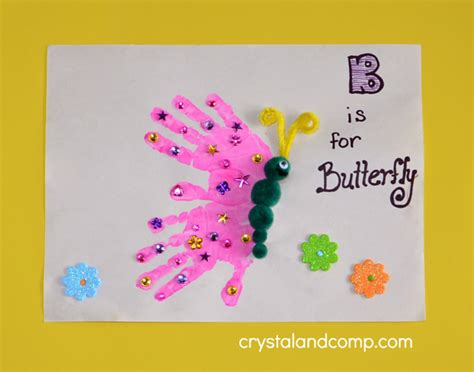 handprint craft for print b is for butterfly