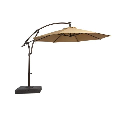 patio offset umbrella hton bay 11 ft offset led patio umbrella in