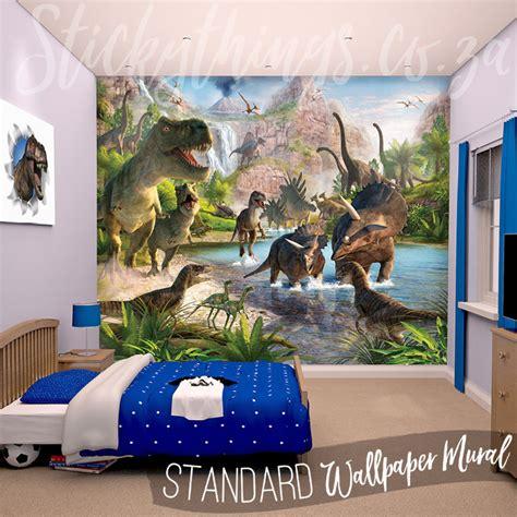 dinosaurs murals walls dinosaur wall mural realistic dinosaur land wallpaper