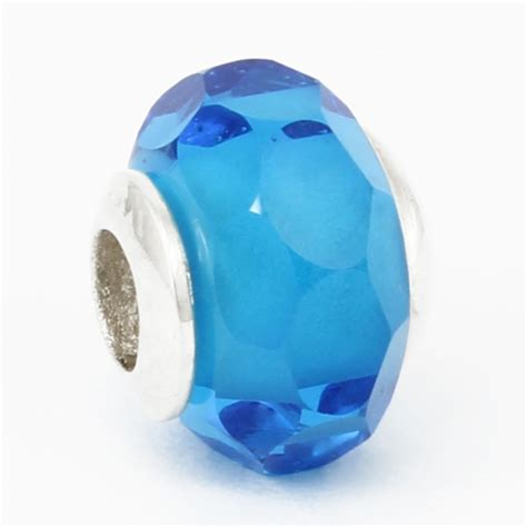 blue bead glass fusion jewelry blue faceted glass bead