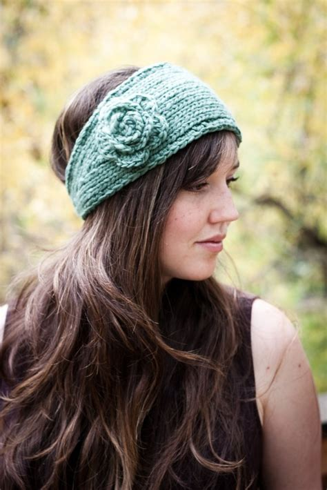knitting patterns for headbands knitted headband with flower patterns a knitting