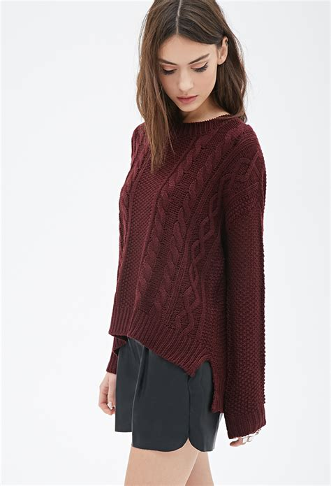 Forever 21 Cable Knit Sweater In Purple Lyst